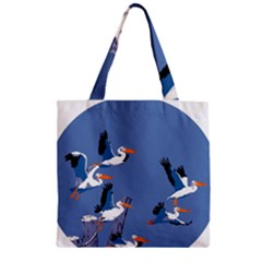 Abstract Pelicans Seascape Tropical Pop Art Zipper Grocery Tote Bag