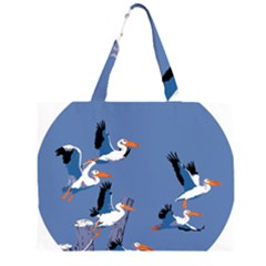abstract Pelicans seascape tropical pop art Zipper Large Tote Bag