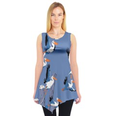 Abstract Pelicans Seascape Tropical Pop Art Sleeveless Tunic