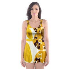 1920s Sunflower Print Skater Dress Swimsuit