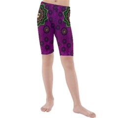 Among Stars A Dove A Fender In Peace And Leather Kid s Mid Length Swim Shorts