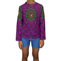 Among Stars A Dove A Fender In Peace And Leather Kid s Long Sleeve Swimwear