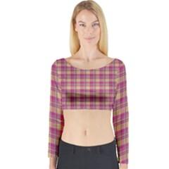 Pink Plaid Pattern Long Sleeve Crop Top