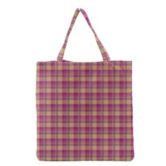 Pink Plaid Pattern Grocery Tote Bag