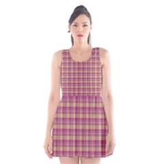Pink Plaid Pattern Scoop Neck Skater Dress
