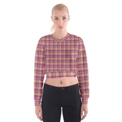 Pink Plaid Pattern Women s Cropped Sweatshirt