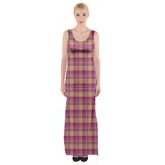 Pink Plaid Pattern Maxi Thigh Split Dress