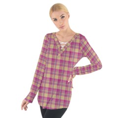 Pink Plaid Pattern Women s Tie Up Tee