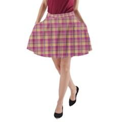 Pink Plaid Pattern A Line Pocket Skirt