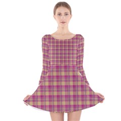 Pink Plaid Pattern Long Sleeve Velvet Skater Dress
