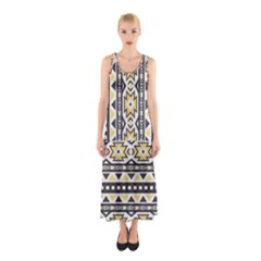 Ornamental Black And Yellow Boho Pattern Full Print Maxi Dress