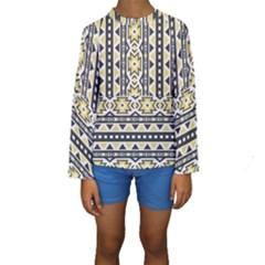 Ornamental Black And Yellow Boho Pattern Kid s Long Sleeve Swimwear