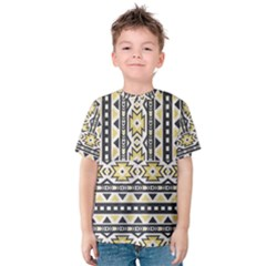 Ornamental Black and yellow boho pattern Kid s Cotton Tee