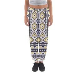 Ornamental Black and yellow boho pattern Women s Jogger Sweatpants
