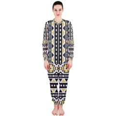 Ornamental Black and yellow boho pattern OnePiece Jumpsuit (Ladies)