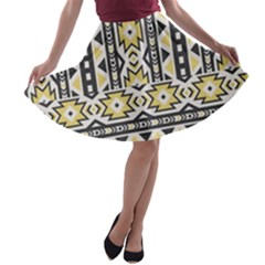 Ornamental Black And Yellow Boho Pattern A Line Skater Skirt
