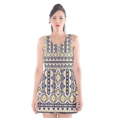 Ornamental Black and yellow boho pattern Scoop Neck Skater Dress