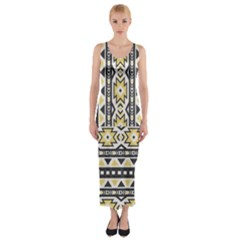 Ornamental Black and yellow boho pattern Fitted Maxi Dress