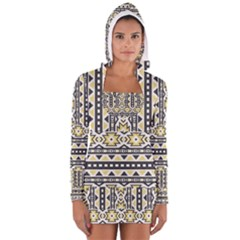 Ornamental Black and yellow boho pattern Women s Long Sleeve Hooded T-shirt