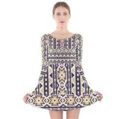 Ornamental Black And Yellow Boho Pattern Long Sleeve Velvet Skater Dress