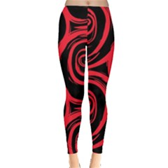 Abtract  Red Roses Pattern Leggings