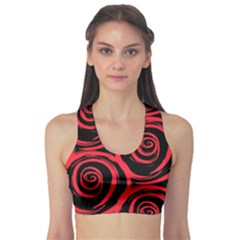 Abtract  Red Roses Pattern Sports Bra