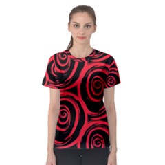 Abtract  Red Roses Pattern Women s Sport Mesh Tee