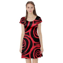Abtract  Red Roses Pattern Short Sleeve Skater Dress