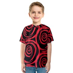 Abtract  Red Roses Pattern Kid s Sport Mesh Tee