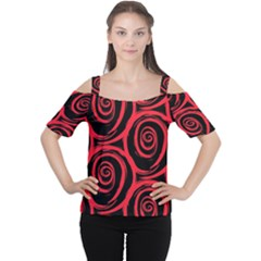 Abtract  Red Roses Pattern Women s Cutout Shoulder Tee