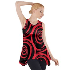 Abtract  Red Roses Pattern Side Drop Tank Tunic
