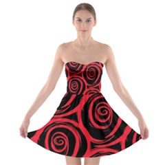 Abtract  Red Roses Pattern Strapless Dresses