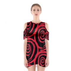 Abtract  Red Roses Pattern Cutout Shoulder Dress