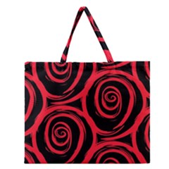 Abtract  Red Roses Pattern Zipper Large Tote Bag