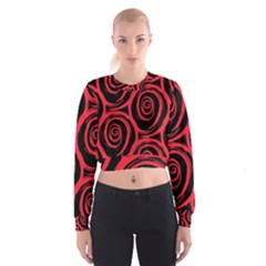 Abtract  Red Roses Pattern Women s Cropped Sweatshirt