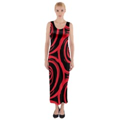 Abtract  Red Roses Pattern Fitted Maxi Dress