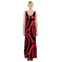 Abtract  Red Roses Pattern Maxi Thigh Split Dress