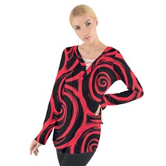 Abtract  Red Roses Pattern Women s Tie Up Tee
