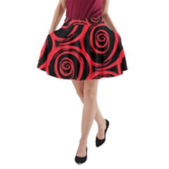 Abtract  Red Roses Pattern A Line Pocket Skirt