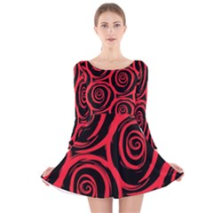 Abtract  Red Roses Pattern Long Sleeve Velvet Skater Dress
