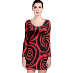 Abtract  Red Roses Pattern Long Sleeve Velvet Bodycon Dress