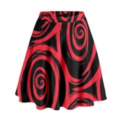 Abtract  Red Roses Pattern High Waist Skirt