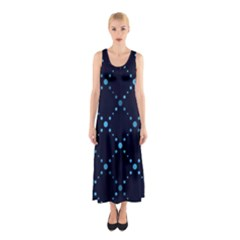 Seamless geometric blue Dots pattern  Full Print Maxi Dress