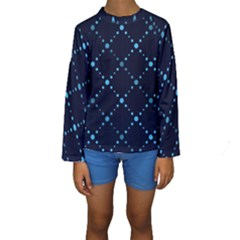 Seamless geometric blue Dots pattern  Kid s Long Sleeve Swimwear