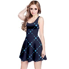 Seamless geometric blue Dots pattern  Reversible Sleeveless Dress
