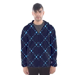 Seamless geometric blue Dots pattern  Hooded Wind Breaker (Men)