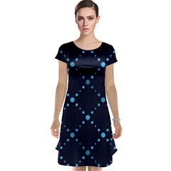 Seamless geometric blue Dots pattern  Cap Sleeve Nightdress