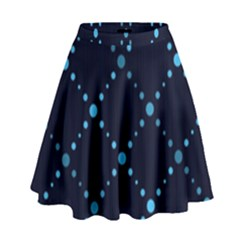 Seamless geometric blue Dots pattern  High Waist Skirt