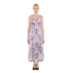 Sketches Ornamental Hearts Pattern Full Print Maxi Dress