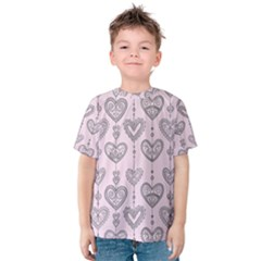 Sketches Ornamental Hearts Pattern Kid s Cotton Tee